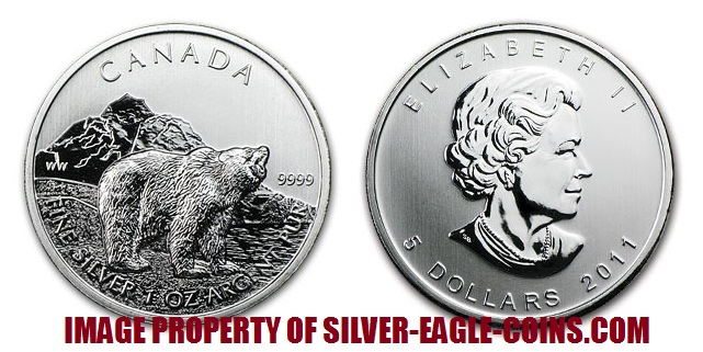 2011 Canada Silver Grizzly Bear